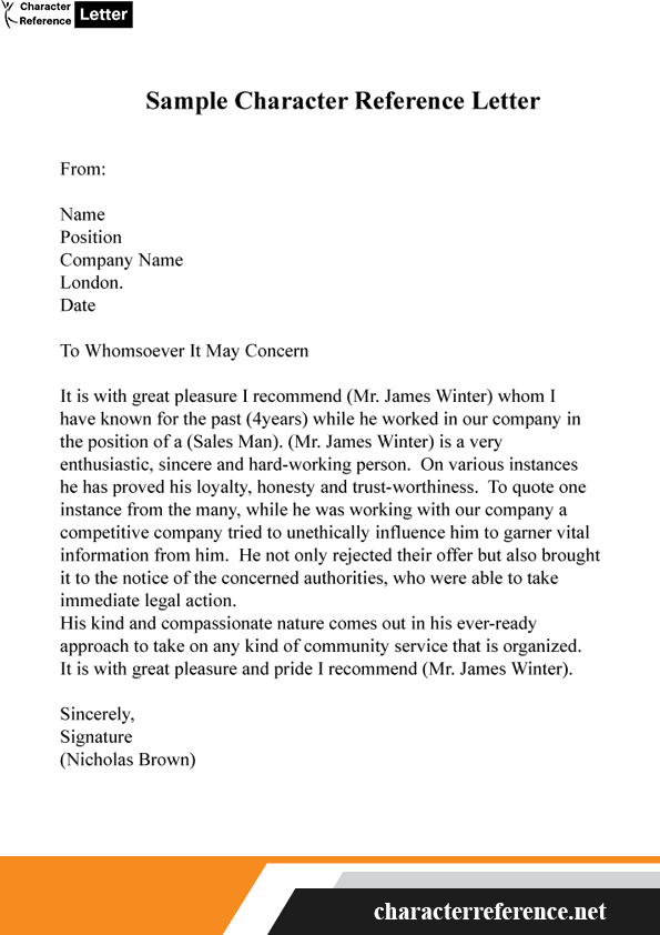 Sample Character Reference Letter Template