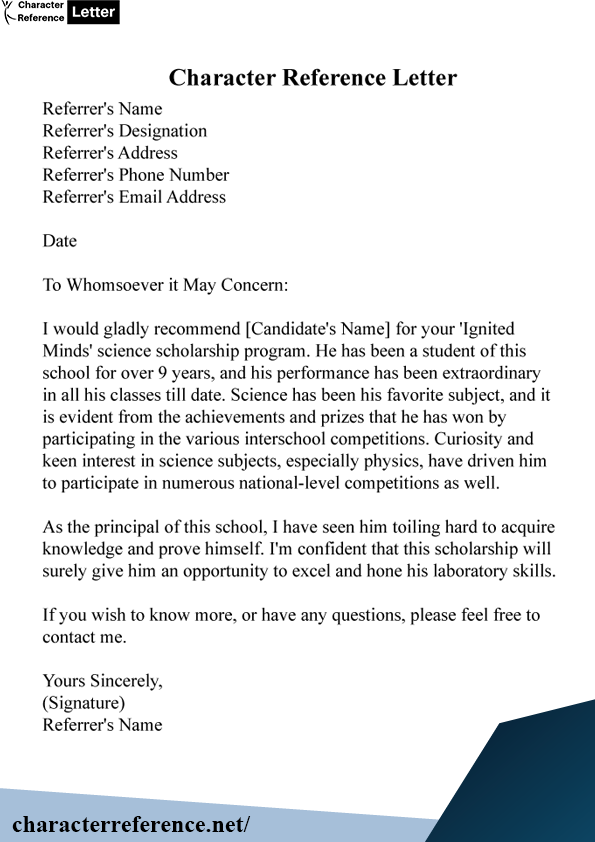 Example of Character Reference Letter For Student
