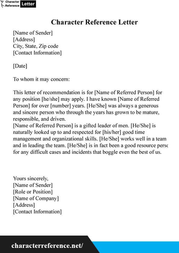 How To Start A Reference Letter.Character Reference Letter