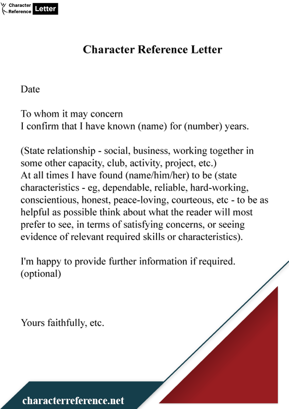 Character Reference Letter Format For Court