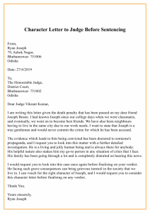 Character Letter To Judge Before Sentencing