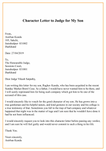 Character Letter To Judge For My Son
