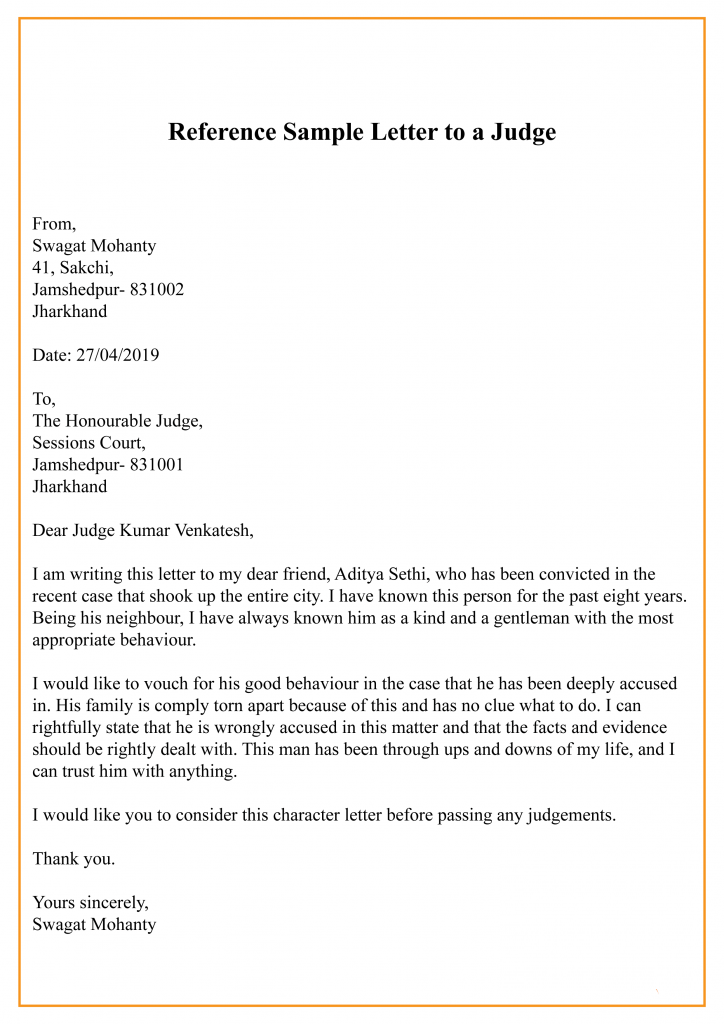 Reference Sample Letter To a Judge