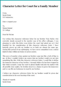 Character Letter for Court for a Family Member