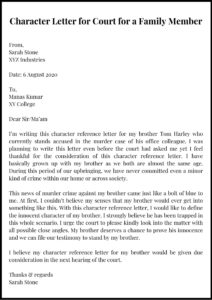 Character Letter for Court for a Family Member pdf