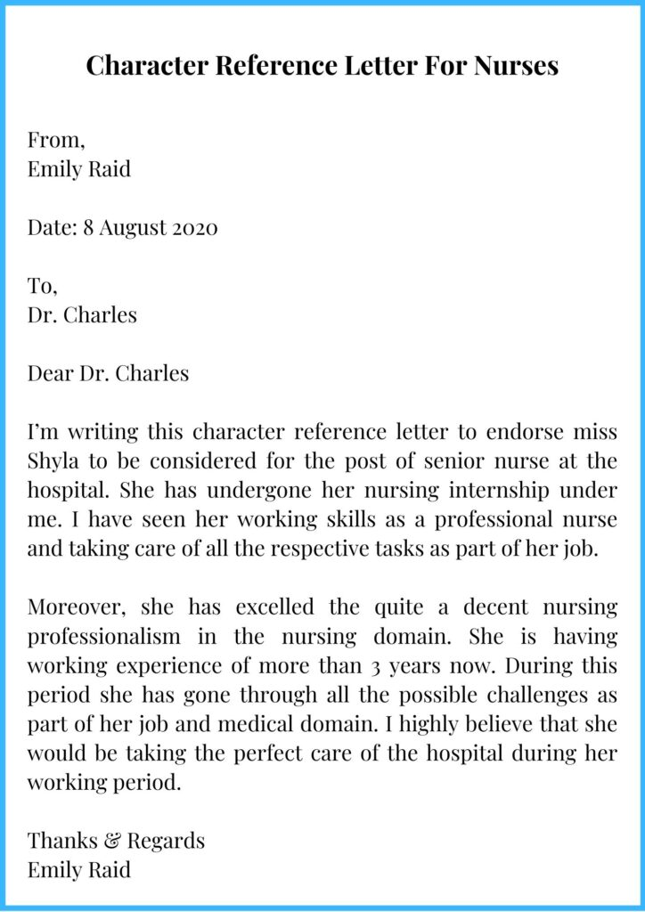 Character Reference Letter For Nurses