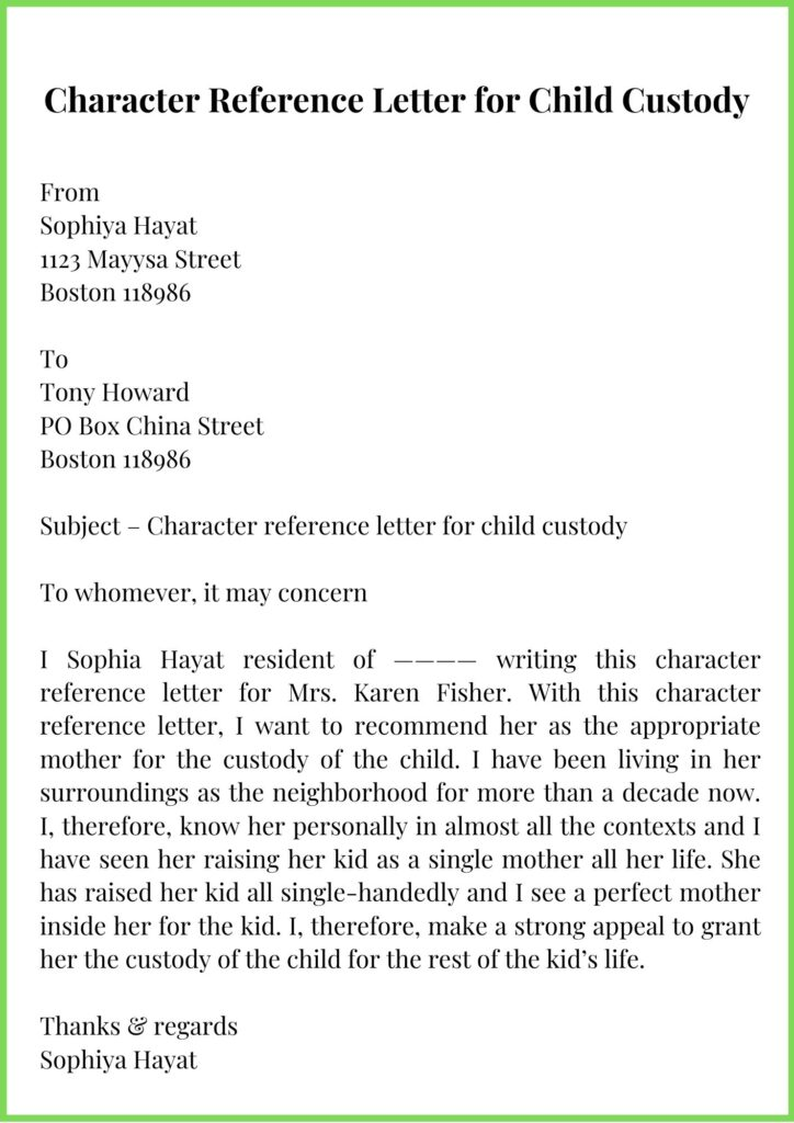 Character Reference Letter for Child Custody Template