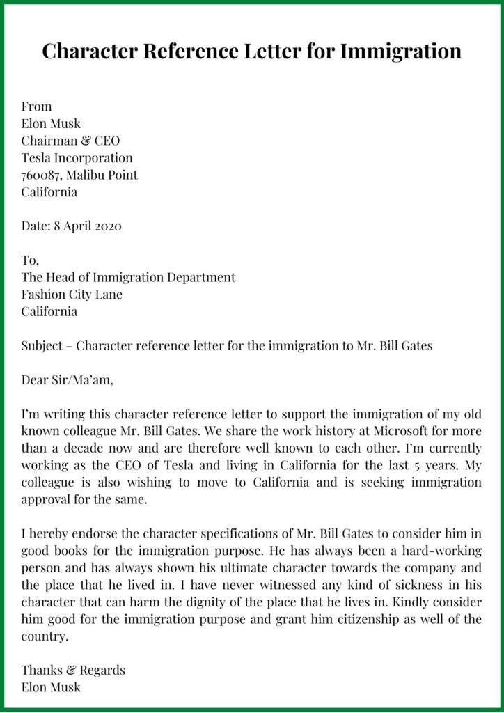 Character Reference Letter for Immigration PDF