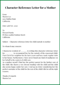 Character Reference Letter for a Mother Template