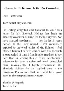 Character Reference Letter for coworker