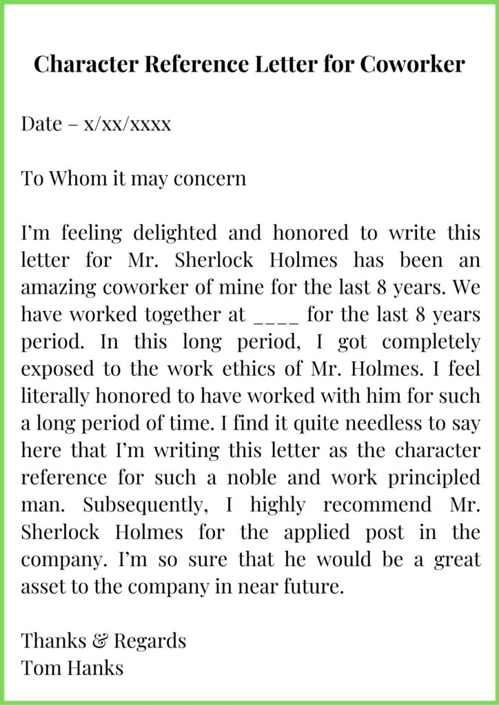 Character Reference Letter for coworker template