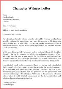 Character Witness Letter