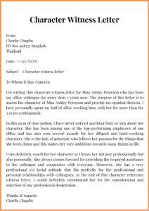Character Witness Letter Template