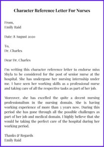 Professional Character Reference Letter For Nurses